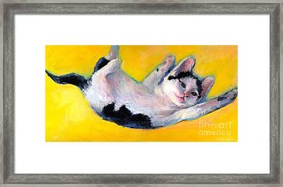 Tuxedo Kitten Painting Framed Print