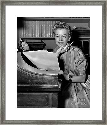 Tv And Big Screen Actress, Betty Furness. 1956 Framed Print by Anthony Calvacca