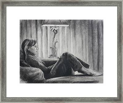 Framed Print featuring the drawing Tv Trance by Rachel Hames