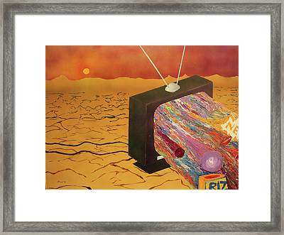 Framed Print featuring the painting Tv Wasteland by Thomas Blood