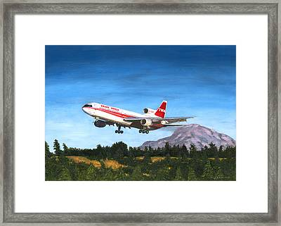 Twa L1011 Landing At Seattle Framed Print