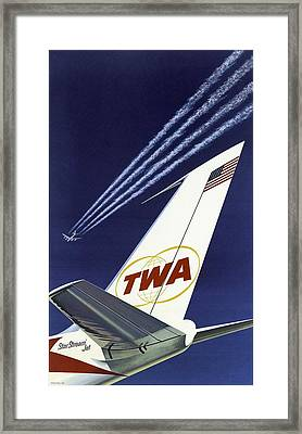 Twa Star Stream Jet - Minimalist Vintage Advertising Poster Framed Print