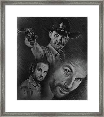 Twd Rick Grimes Collage Framed Print