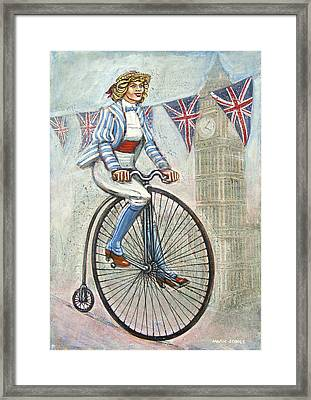 Tweed Run Lady In Blue On Penny Farthing  Framed Print