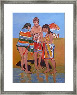 Tweens At The Beach Framed Print by Betty Pieper