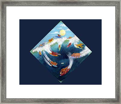 Twelve Surfing Frisbee Dogs Framed Print by Dickens Fourtyfour