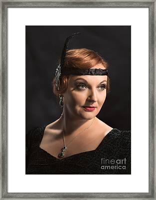 Twenties Flapper Girl Framed Print by Amanda Elwell