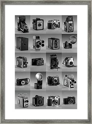 Twenty Old Cameras - Black And White Framed Print