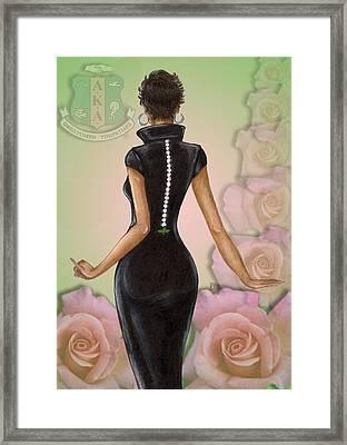 Twenty Pearls N Pink Roses Framed Print
