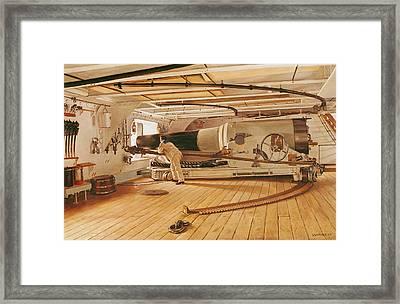 Twenty-seven Pound Cannon On A Battleship Framed Print
