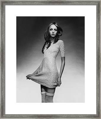 Twiggy In Baby Doll Dress Framed Print by Justin de Villeneuve