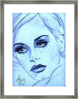 Twiggy In Blue Framed Print by P J Lewis