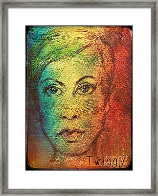 Twiggy In Oils Framed Print by Joan-Violet Stretch