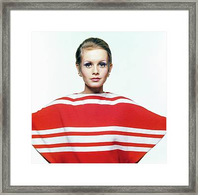 Twiggy In Red Striped Coverup Framed Print by Bert Stern