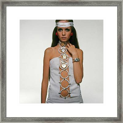 Twiggy Modeling Watches Framed Print by Bert Stern