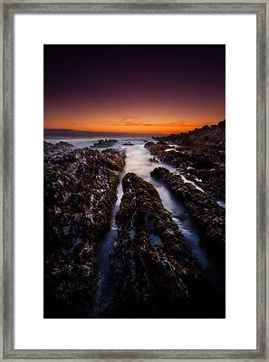 Twilight And Rocks Framed Print by Dan Holmes