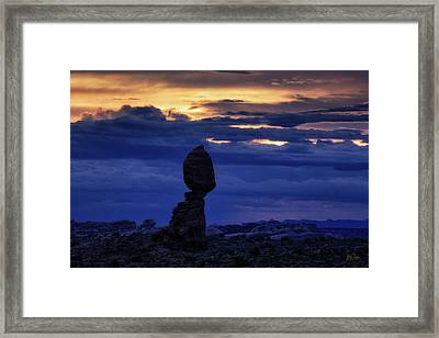 Framed Print featuring the photograph Twilight At Balanced Rock by Stuart Gordon