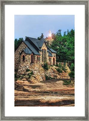 Twilight At Chapel On The Rock Framed Print