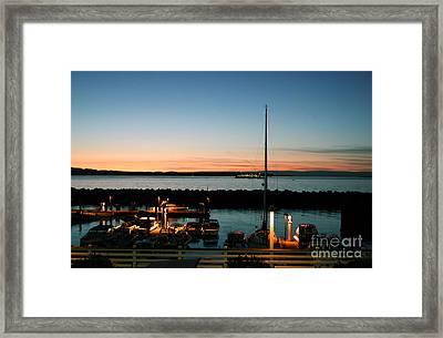Twilight At Edmonds Marina Framed Print
