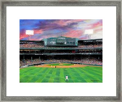 Twilight At Fenway Park Framed Print