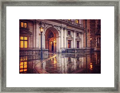 Twilight At Hamburg Town Hall Courtyard  Framed Print by Carol Japp