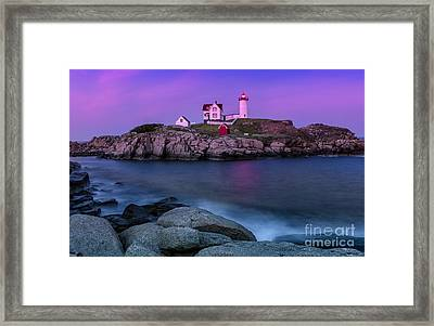 Twilight At Nubble Lighthouse Framed Print by Jerry Fornarotto