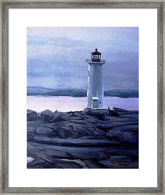 Framed Print featuring the painting Twilight At Peggy's Cove by Patricia L Davidson