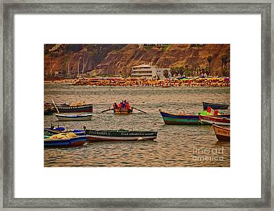 Framed Print featuring the photograph Twilight At The Beach, Miraflores, Peru by Mary Machare