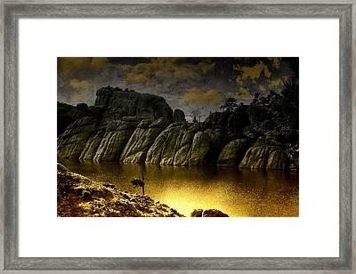 Twilight At The Lake Framed Print