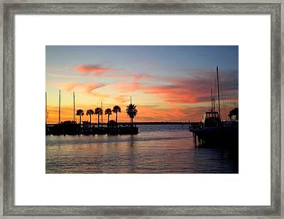 Twilight At The Marina Framed Print