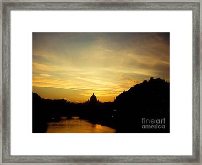 Twilight Behind The Vatican Framed Print by Fabrizio Ruggeri