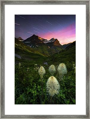 Twilight // Bird Woman Falls, Glacier National Park  Framed Print