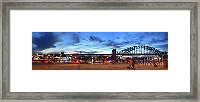 Framed Print featuring the photograph Twilight By The Bridge By Kaye Menner by Kaye Menner