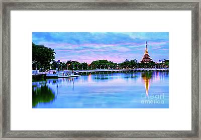 Twilight City Lake View Framed Print