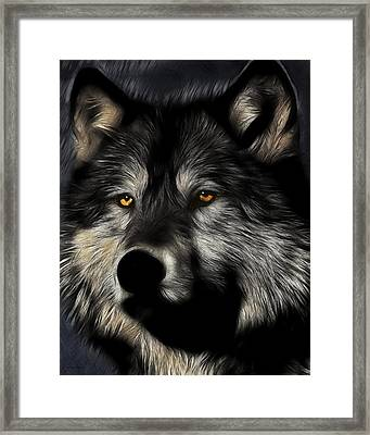 Twilight Eyes Of The Lone Wolf Framed Print by Wingsdomain Art and Photography