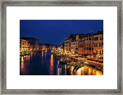 Twilight From The Rialto Bridge Framed Print by Andrew Soundarajan