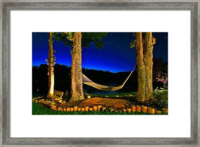 Twilight Hammock Smith Mountain Lake Framed Print
