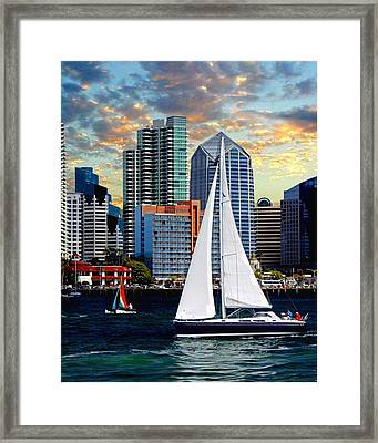 Twilight Harbor Curise1 Framed Print by Chambers and  De Forge