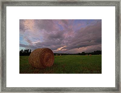 Twilight Hay Bale Framed Print by Jerry LoFaro