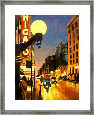 Twilight In Chicago - The Watcher Framed Print by Robert Reeves