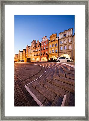 Twilight In The Old Town Of Jelenia Gora In Poland Framed Print