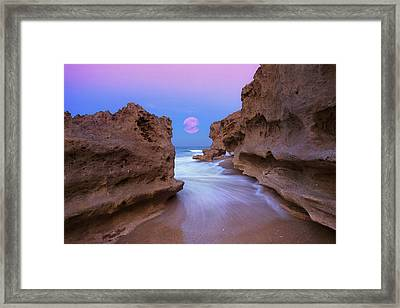 Twilight Moon Rising Over Hutchinson Island Beach Rocks Framed Print