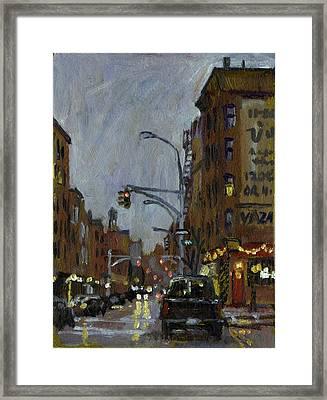 Twilight On 7th And Avenue B Vazac Bar Nyc Framed Print by Thor Wickstrom