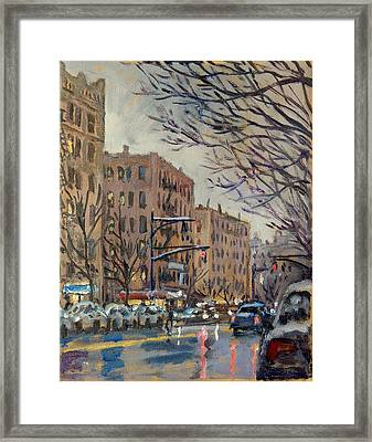 Twilight On Broadway New York City Framed Print by Thor Wickstrom