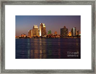 Twilight On San Diego Harbor Framed Print by Sandra Bronstein
