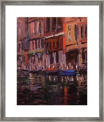 Twilight On The Canal Framed Print by R W Goetting