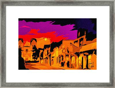 Twilight On The Plaza Santa Fe Framed Print