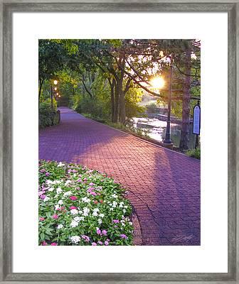 Twilight On The Riverwalk Framed Print