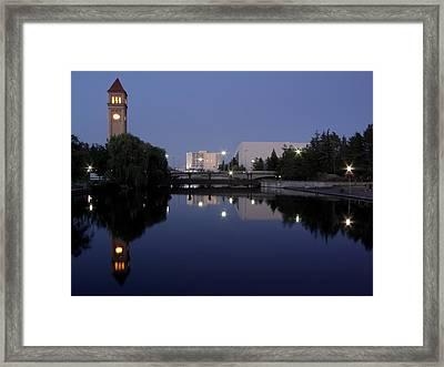 Twilight On The Spokane River Framed Print