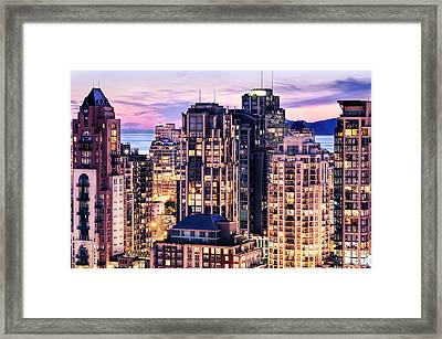 Twilight At English Bay Vancouver Framed Print